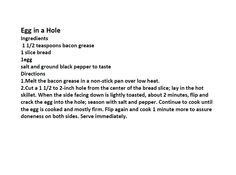 Jim Bob and Mae Recipe of the Day    Egg in a hole   http://www.dailyrecipedoctor.com