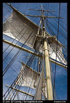 Masts and sails of Charles W Morgan historic ship. Mystic, Connecticut, USA