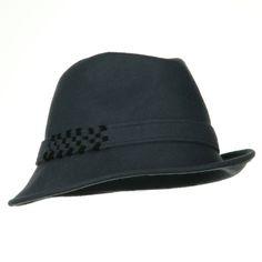 Wool Felt Fedora Hat with Crocheted Band - Black Grey
