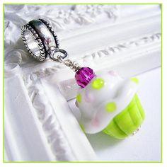 Lime Green Pink White Cupcake Pandora Charm, Floral Cupcake Pandora Bead, Cupcake Pendant, Jewelry by JKS Designs. $28.00, via Etsy.