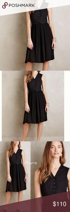 Anthropologie black dress Brand new w tags. Cotton, linen, and rayon with a vest 5-button detailed top and fit and flare bottom. Falls 42.5 inches from shoulder. Neutral territory is the brand name. From anthropologie Anthropologie Dresses