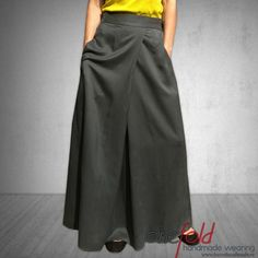 fusta_lunga_cu_buzunare Sewing, Skirts, Pants, How To Wear, Handmade, Fashion Design, Hand Made, Trousers, Couture
