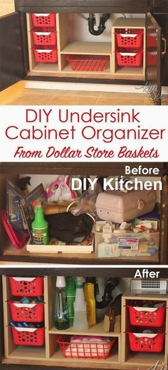 From a single sheet of plywood and some dollar store bins she built this fabulous organizer. What a great way to use all that awkward space under the sink! Undersink Cabinet Organizer with Pull Out (Diy Organization) Organisation Hacks, Bathroom Organization, Organizing Ideas, Storage Organization, Bathroom Ideas, Organising, Bathroom Baskets, Bath Ideas, Deep Cupboard Organization