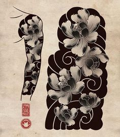 Japan is home to some of the most incredible and detailed Japanese tattoo art. However, it's difficult to find many resources online that offer an in-depth look at this art form. Japanese Tattoo Art, Japanese Tattoo Designs, Japanese Sleeve Tattoos, Full Sleeve Tattoos, Japanese Art, Japanese Flower Tattoos, Japanese Dragon, Kunst Tattoos, Irezumi Tattoos