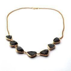 Irregular Shapes Of Black Onyx Stone Necklace   toosis