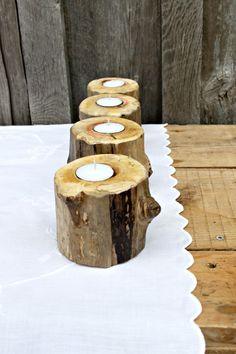 Rustic wood tea light holder