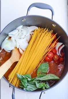 One Pot Spaghetti from rachelschultz.com on foodiecrush.com