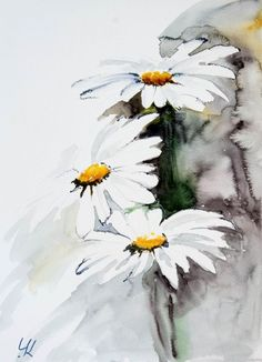 """Daisies"", original watercolour painting, 28x38 cm (2016) Watercolours by Yuriy Kraft 