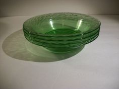"Vintage Pyrex Clear Green Swirl Festiva 7 1/2"" Bowls -- I have a set of 4 as well.  Lady threw them in for nothing!!  My win!"
