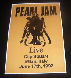 Pearl Jam poster, Milan Italy 1992 Concert Poster