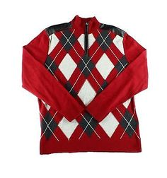INC-NEW-Red-Bright-Rhubarb-Mens-Small-S-1-2-Zip-Pullover-Argyle-Sweater-59