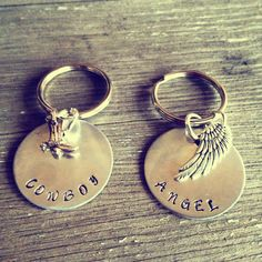 Hand Stamped Aluminum Keychains Cowboy and by PrettyLittleThingsKB, $25.00