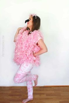 Flashy DIY Flamingo Costume | Be the center of attention with this creative Halloween costume.