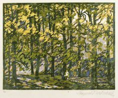 """✨  Leopold Wächtler (1896 - 1961) - Berchtesgadener Alpen, """"In der Ramsau"""", um 1930, Farbholzschnitt, auf feinem China. Auflage Exemplar Nr. 8/25. 18,9 x 24,0, rRechts unten in Bleistift signiert, links eigenhändige Auflagenbezeichnung ::: Colour woodcut"""