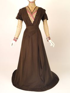Brown, cream, and pink Cashmere Dress, ca. 1910
