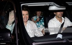 Raphael (L) and Natalia Figueroa (C) leave Royal Theatre after his concert on July 22, 2015 in Madrid, Spain.