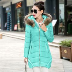 new-Womens-Down-Jacket-Long-Coat-Fur-Collar-Hooded-Winter-Warm-Outerwear