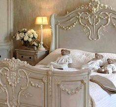Add hand carved wood appliques to a plain bed to achieve a bed similar to this  one. You can find quality hand carved onlays at www.buycarvings.co.uk