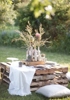 Make use of these cost-free picnic table plans to build a picnic table for your yard, deck, or any other area around your residence where you need sitting. Developing a picnic table is . Read Best Picnic Table Ideas for Family Holiday Outdoor Dinner Parties, Outdoor Entertaining, Garden Parties, Boho Garden Party, Picnic Parties, Pallet Picnic Tables, Palette Deco, Palette Table, Deco Champetre