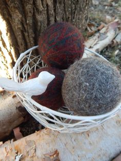 Set of 6 Dark Color Wool Dryer Balls with FREE by PureGRACESoap