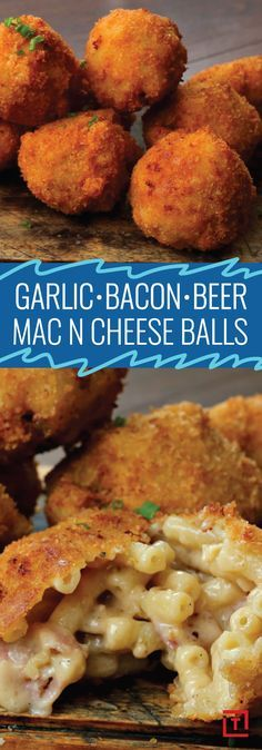 We at Thrillist believe that most things in life are made better by beer, including macaroni and cheese. So it goes without saying that our mouths started watering when we found Twisteds recipe for garlic, bacon, and beer mac & cheese balls, an easy snack Beer Mac And Cheese, Mac Cheese, Garlic Cheese, Fried Mac And Cheese, Cheese Dips, Cheese Fruit, Cheddar Cheese, Cheese Recipes, Appetizer Recipes