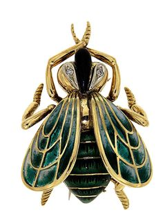 Enamel, Diamond and Gold Insect Brooch