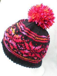 9a189953da4 Spunky Fair Isle Knitted Hat with Pom Pom (black