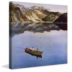 Marmont Hill Fishing on Mountain Lake by John Clymer Painting Print on Canvas, Size: 48 inch x 48 inch, Multicolor