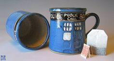 Handmade Doctor Who Inspired Pottery Mug dragonflyart, handmad doctor, inspir polic, boxes, doctor who, doctors, tardi inspir, cup lover, mugs