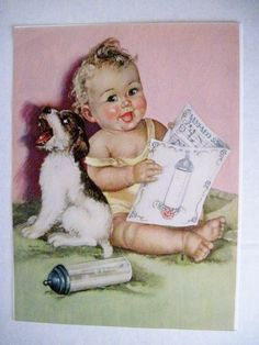 "Vintage Print by ""Charlotte Becker"" of Baby,Terrier Puppy, Bottle & Song Book"