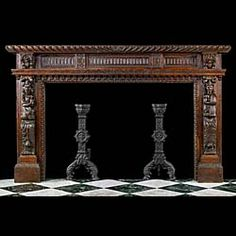 Antique Jacobean style oak fireplace mantel