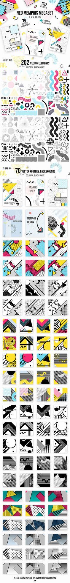 다음 @Behance 프로젝트 확인: \u201c272 patterns, posters, elements. MEMPHIS MEGAset\u201d https://www.behance.net/gallery/46513541/272-patterns-posters-elements-MEMPHIS-MEGAset