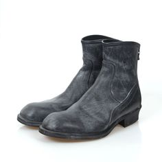 JULIUS_7 JULIUS 12AW BACK ZIP ENGINEER DISTRESSED LEATHER BOOTS