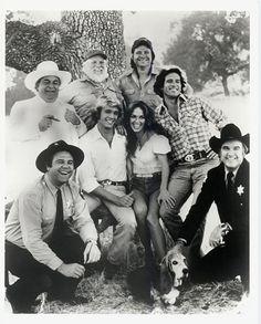 Dukes of Hazzard- Boss Hog, Enos, Uncle Jessie, Cooter, Bo Duke, Daisy Duke, Luke Duke and Rosco, ofcourse the General Lee was the main star ;)