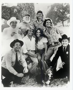 Dukes of Hazzard- Boss Hog, Enos, Uncle Jessie, Cooter, Bo Duke, Daisy Duke, Luke Duke and Rosco, ofcourse the General Lee was the main star ;)