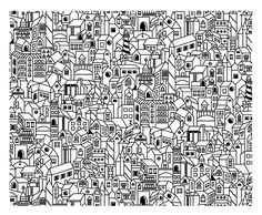 Free coloring page coloring-architecture-big-city. Big city with numerous houses