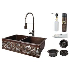 Premier Copper Products All-in-One Dual Mount Copper 33 in. Double Bowl Scroll Kitchen Sink with Faucet in ORB and - The Home Depot All-in-One Dual Mount Copper 33 in. Double Bowl Scroll Kitchen Sink with Faucet in ORB and Nickel, Oil Rubbed Bron. Copper Apron Sink, Copper Farmhouse Sinks, Copper Kitchen, Faucet Kitchen, Oil Rubbed Bronze Faucet, Kitchen Soap Dispenser, Double Bowl Kitchen Sink, Kitchen Aprons, Mediterranean Home Decor