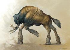 Tree Legged Behemoth by KatePfeilschiefter on deviantART Alien Concept Art, Creature Concept Art, Creature Design, Alien Creatures, Fantasy Creatures, Mythical Creatures, Fantasy Beasts, Fantasy Art, Painted Fan