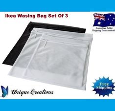 IKEA Pressa WASHING BAG Set Of If you put your delicate clothes in PRESSA washing bag, they will be protected in the washing machine. 1 x Black Washing Bag. 1 x White Washing Bag. Delicate Lingerie, Car Signs, Mesh Netting, Printing Press, Wash Bags, Offices, Invites, Sydney, Garland
