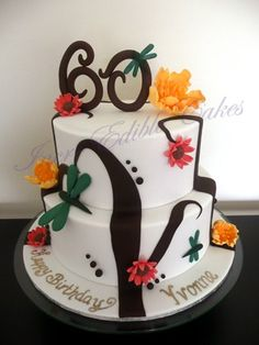 60th two tier Birthday cake with hand made fondant dragonflies and flowers