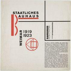 László Moholy-Nagy Staatliches Bauhaus Weimar 1919-1923, 1923. Página de livro do movimento Bauhaus caracterizado pela simplificação dos volumes, geometrização das formas e predomínio der etas.Também notada sequencialidade de ângulos.