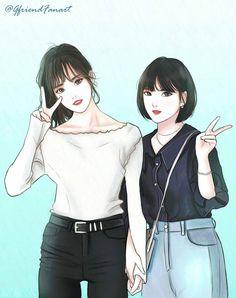 Gfriend Eunha and Yuju (Yujuna) Kawaii Anime Girl, Anime Art Girl, Bff, Anime Best Friends, Best Friend Drawings, Gfriend Yuju, Anime Art Fantasy, People Poses, G Friend