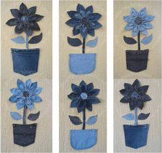 3 suggestion to decor with denim flower Denim Flowers, Fabric Flowers, Paper Flowers, Flower Jeans, Fabric Crafts, Sewing Crafts, Sewing Projects, Craft Projects, Jean Crafts