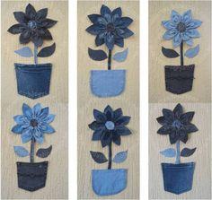 3 suggestion to decor with denim flower Flor de Jeans 3 sugestões de decoração