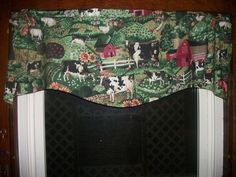 Cow Chicken Rooster Farm Sunflower Apple Country Kitchen fabric curtain Valance #Handmade #Country