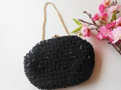 Beaded Evening Bag Black Beads and Sequins by LittleBitsofGlamour, $29.00