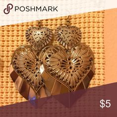 Selling this Heart shaped earrings on Poshmark! My username is: leanneiv. #shopmycloset #poshmark #fashion #shopping #style #forsale #Jewelry
