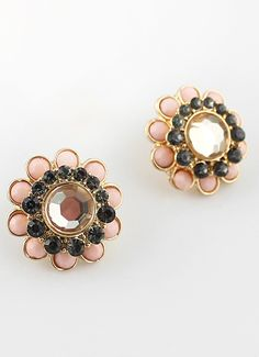 Pink Black Gemstone Gold Flower Stud Earrings US$7.01