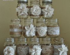 Set of 12 Mason Jar Sleeves Burlap Wedding Rustic Wedding