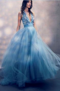 Blue Deep V Neck Sparkly Tulle Long Elegant Formal Real Handmade Prom Dresses, Party Evening dress M3265
